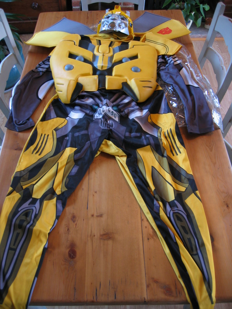 Official transformers bumblebee adult fancy dress costume worn once